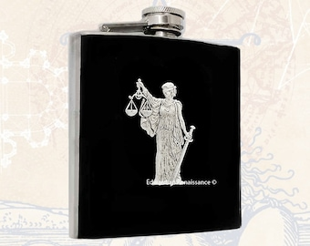 Libra Flask Inlaid in Hand Painted Enamel Black Zodiac Inspired Custom Colors and Personalized Options
