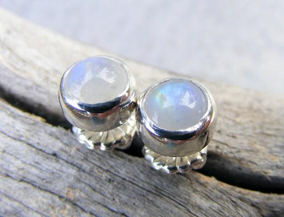Moonstone Stud Earrings,  Rainbow Moonstone Earrings, Post Earrings, Moonstone Jewelry