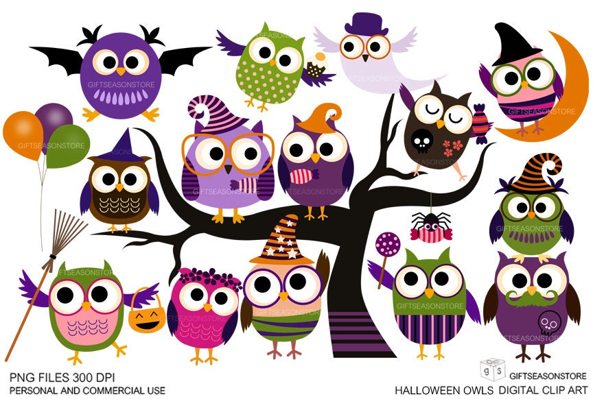 Halloween owls Digital clip art for Personal and Commercial