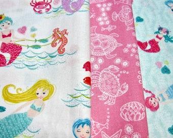 Mermaid Cotton Fabric Set Called Merryn Scenic by Makower UK