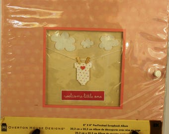 Overton House Designs 8x8 Pink Pre-Finished Scrapbook Welcome Little One