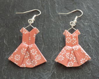 Earrings pink origami dresses