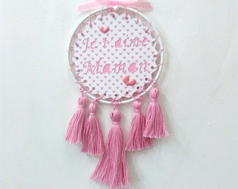 "Customizable wall hanging, catches dreams customizable, deco wall, decor wall tassels, mother's day, ""I love you MOM"""