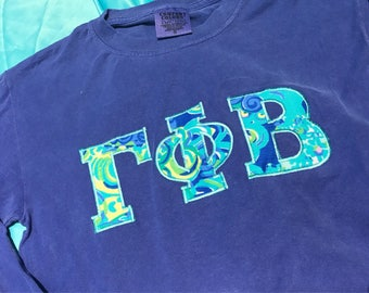 Gamma Phi Beta Long Sleeved Lilly Shirt in Size Small, Medium, and Large
