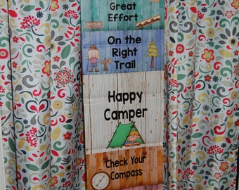 Camping Themed Behavior Chart printed on vinyl banner for home or school