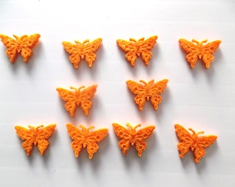 set of 10 BUTTERFLIES in felt color ORANGE