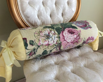 Yellow and Pink Long Bolster Pillow Bark Cloth Irish Linen Floral Decorative Pillow Home Decor Pillows for Couch Chair Bedroom Vintage