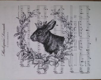 NEW french market easter bunny on vintage sheet music