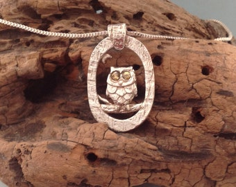 Fine Silver Owl Pendant