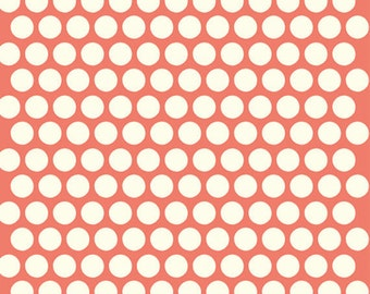 Fat Quarter Dottie Cream Coral Mod Basics 3 Collection Birch Organic Fabrics, Sustainable Low Impact Dye Cotton Fabric