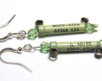 Statement Jewelry Wearable Tech Earrings Vintage Tesla Resistor Eco Friendly Electronic Steampunk Earrings Irish Green St Patricks Day Gift