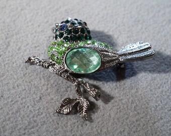 Vintage Silver Tone Multi Round Oval Shades Green Rhinestone Fancy Bird Branch Design Pin Brooch