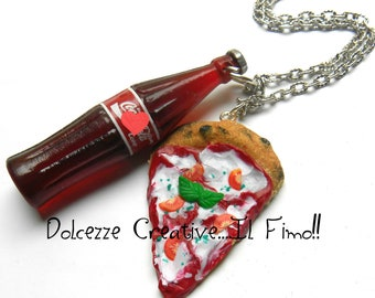 Pizza Margherita necklace and drink - miniature polymer clay - Kawaii necklaces - gift idea