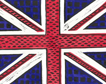 Geometric Union Jack Print Traditional Colors