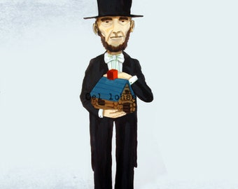 Abe builds a log house ... limited edition print ... gray background version • abraham lincoln • history • humor • building toy • president