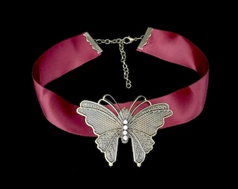 Butterfly Choker Necklace- Butterfly Necklace- Fairy Necklace- Steampunk Necklace- Butterflies- Satin Choker- Burgundy Choker- Maroon Choker