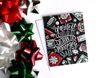 Christmas Card, Jesus, Merry Christmas, Christian Christmas Card, Chalk Art, Chalkboard Art, Typography,