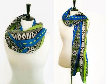 Blue Green Black & White African Tribal Print Shawl Scarf