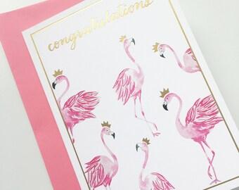 Pink Flamingo Blank Greeting Card - Congratulations Card - Handmade Card - Watercolor Card