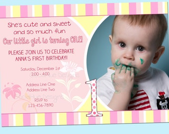 Pink and Yellow First Birthday Invitation - Customizable, with Photo - Printable - 5x7