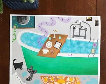 Bath Scene - Art Print  - Wall Art - Bathtub, Cat, Moon, Relax, Bathroom Decor