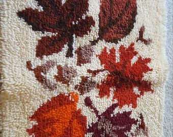 Latch Hook, vintage, canvas, yarn art, leaves, 1970s