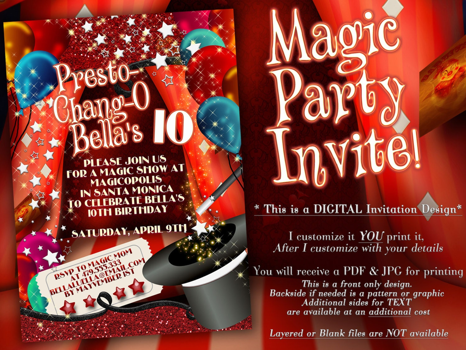 Amazing Magic Birthday Party Invitations Motif - Invitations and ...