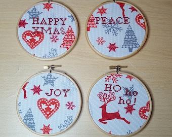 Set of 4 Xmas Decorations.  Scandinavian Style Decorations. Hygge Xmas Decorations. Christmas Tree Decorations. Xmas Embroidery.