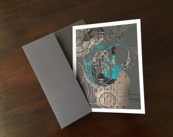 "Silver, Turquoise, Red and Black Metallic Foil Print Blank Greeting Cards - set of 4 - Grey Cardstock - A2 - 4.25""x5.5"""