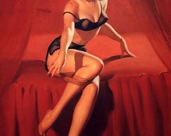 ELVGREN BURLESQUE Pinup - I'm Not Shy -  Art Deco Pin-Up - Bedroom Lingerie Stocking Bedroom Tease - 8X11- signed print
