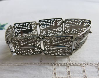 Vintage silver filigree panel bracelet