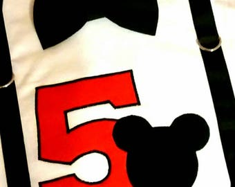 Boy Mickey Mouse Birthday Shirt or Onesie with Detachable Bow Tie, number, mouse APPLIQUE, and Faux suspenders 1st 2nd 3rd 4th 5th 6th