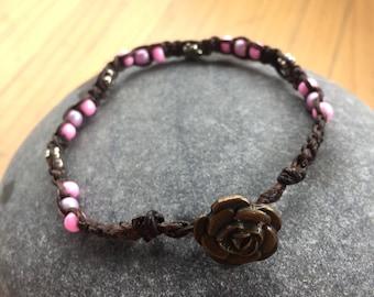 Floral Beaded Macrame Bracelet