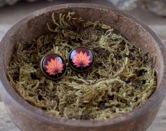 Autumn leaf stud earrings, Orange stud earrings, Maple leaf post earrings, Nature picture earrings, Orange jewelry, Fall earrings NJ 020