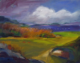"Golf Art. Golf Gift. Cold Spring Harbor Golf Club, ""Lands End"", NY. Print of original oil painting."