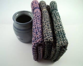 Dishcloths/Washcloths Knit in Cotton, Dishcloth, Washcloth, in Steel/Pecan, Forest/Oatmeal and Wild Pansy/Pink
