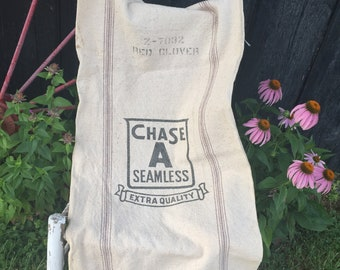 Vintage CHASE Grain Sack, Seamless Heavy Cotton Canvas Fabric, Rustic Fabric, Upcyle Repurpose Farmhouse Porch Decor