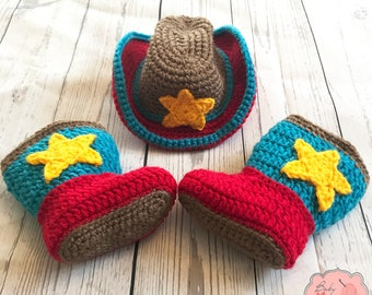 READY TO SHIP Toy Story Inspired Woody Jesse Cowboy Cowgirl Infant Newborn Baby Outfit Hat Boots Shoes Crochet Photography Photo Prop