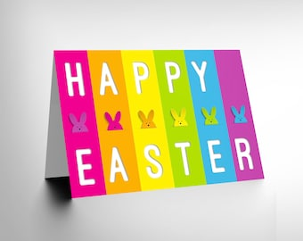 Stripe Easter Card / Multi Colour / Bunny Card / Colourful Card / Children / Kids Easter CL1094
