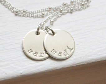 Personalized Necklace, Personalized Jewelry, Gold or Silver Necklace, Mother's, Jewelry gift, Custom Hand Stamped, Custom Name Necklace