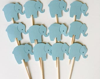 Elephant Cupcake Toppers - Baby Shower Cupcake Toppers