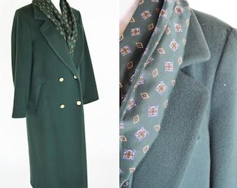 Vintage 1980's Wool Green Box Pea Coat - Hobo Style Long heavy Winter Coat - Folded Lapel Pea Coat - Matching Scarf - Size Medium to Small
