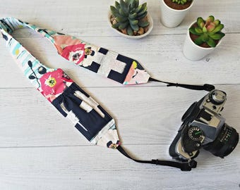 DSLR Camera Strap | Pink Floral Padded and Contoured Strap with Navy Lens Cap Pockets