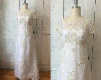 60s white empire waist wedding dress - lace applique design - sheer gaize fabric - short sleeves - small - xs