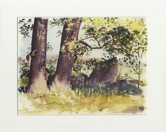 8.5x11 original watercolor of squirrel chase