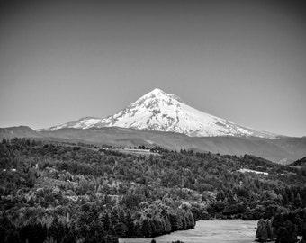 Fine Art Original Photograph of Mount Hood, Oregon. Black & White Print