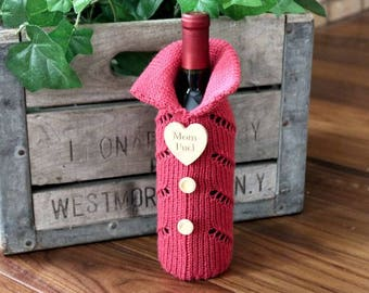 Knitted Wine Bottle Gift Bag, Wine Bottle Gift Bag, Wine Bottle Cozie, Wine Bottle Cover, Gift Bags, Wine Bottle Sweater, Mothers Day Gift