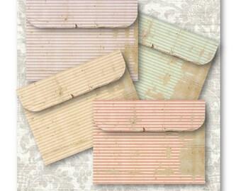 Shabby Stripe Envelopes - Digital Collage Sheet Download -350- Digital Paper - Instant Download Printables
