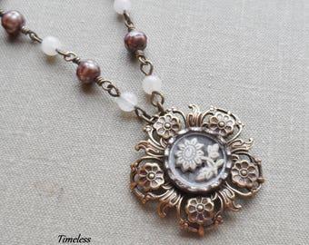 Antique Button Necklace, Celluloid Flower, Faceted Fresh Water Pearls, White Quartz, Beige, Tan, Gray, Antique Grass, Timeless Trinkets