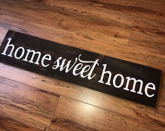 home sweet home sign, wood sign, hand painted, , home decor, farmhouse decor, distressed wood